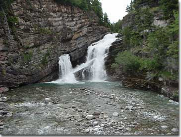 Cameron Falls in Waterton Lakes National Park exposes some of the oldest rock in the Canadian Rocky Mountains.